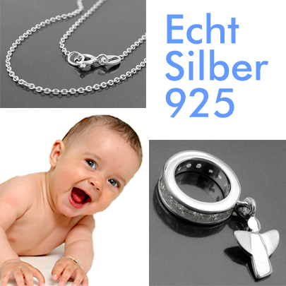 Jungen Zirkonia blau Infinity Schutzengel Taufring und Kette 38 cm Silber 925