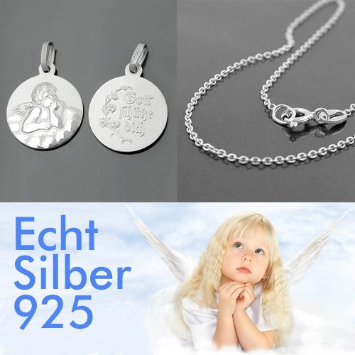 Baby Taufe Kinder Schutz Engel mit Namen Gravur und Hals Kette Echt Silber 925