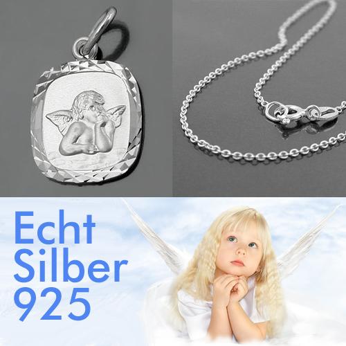 klassischer Schutzengel mit Kind Anhänger inkl Namen Gravur mit Kette Silber 925