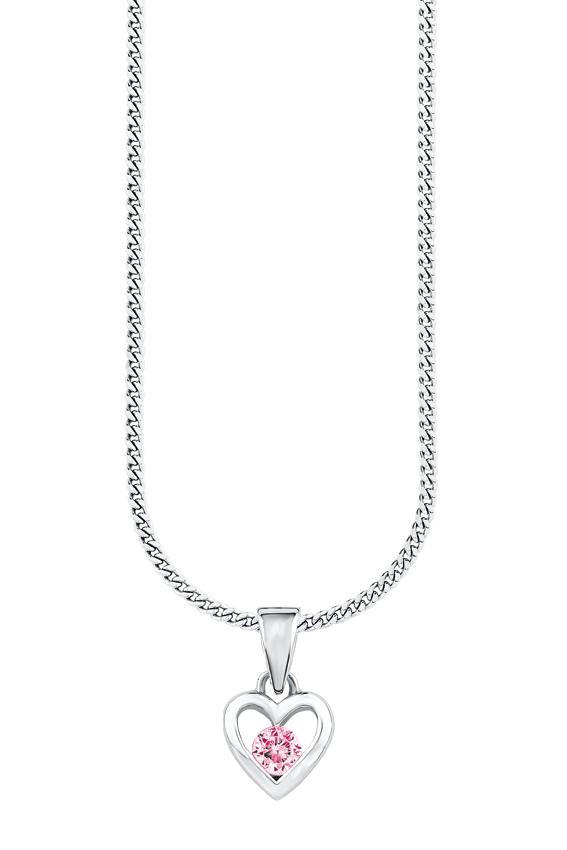 Mädchen rosa Herz Engel Taufring mit weißen Zirkonia und Silber 925 Kette 34 cm