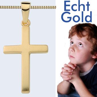 Kinder Kreuz Anhänger Baby Taufe Kommunion mit Kette Silber 925 Rosè Rot Gold
