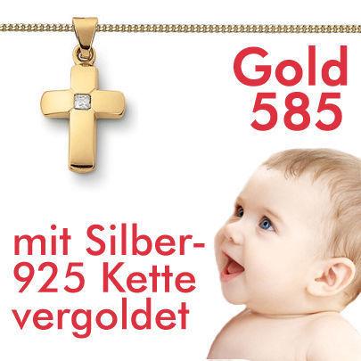 Kinder Kreuz Mit Zirkonia Echt Gold 585 14 Kt Und Kette Echt Silber 925 Vergoldet Vario 42 40 Cm