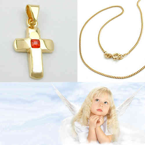 Goldkette mit kreuz 585  Echt Gold 585 Taufe Erst- Kommunion Kreuz mit Kette Echt Silber ...