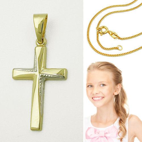 Kinder Kreuz Anhänger Zirkonia zur Kommunion Gold 333 mit Kette Silber vergoldet