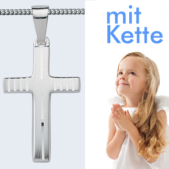 Kreuz Anhänger Baby Taufe Kinder Kommunion mit Kette 12 Zirkonia Echt Silber 925