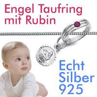 Mädchen Engel Rubin Edelstein Taufring Weiß Gold 585 14 Kt mit Kette Silber 925