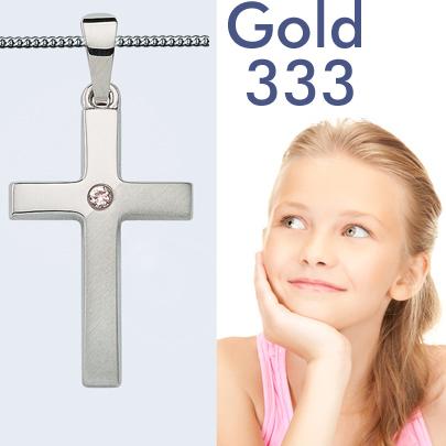 Mit Silber Kette Neu 8 Kt Kinder Kommunion Kreuz Anhänger