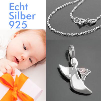 Baby Engel Kinder Schutzengel Anhänger mit Rundanker Kette 38 cm Echt Silber 925