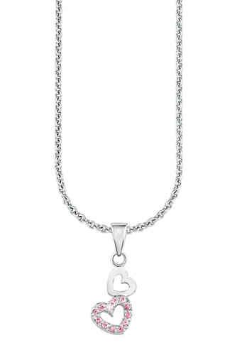 Weiß Gold 333 Schutz Engel mit Herz und Zirkonia Steinen mit Silber 925 Kette