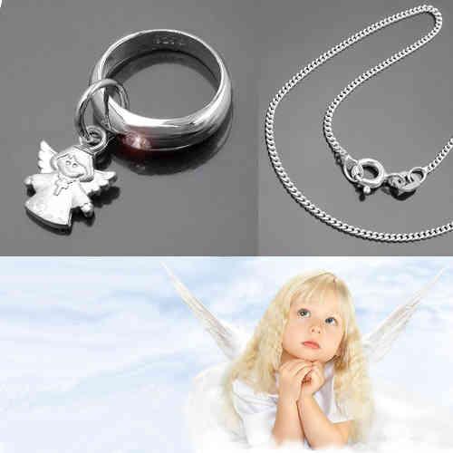 Baby Jungen Taufe Schutz Engel mit Safir Taufring Echt Silber 925 und Kette Neu