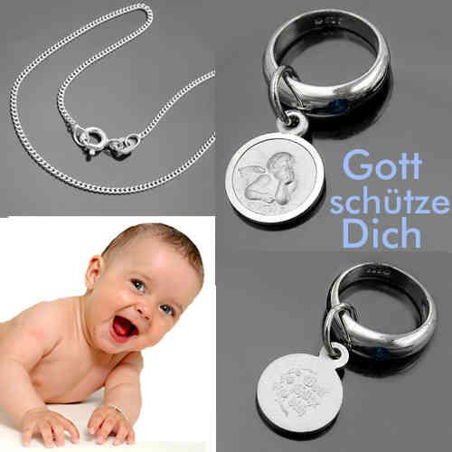 Baby Mädchen Taufe Schutz Engel mit Rubin Taufring Echt Silber 925 und Kette Neu