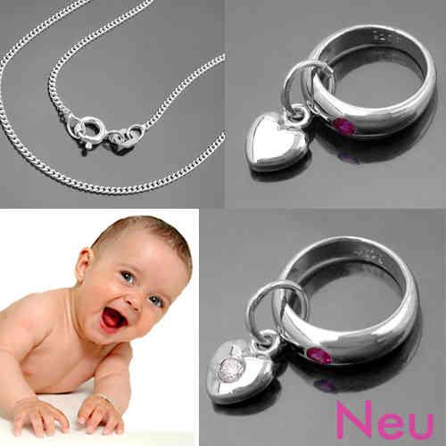 Jungen Baby Taufe Schmuck mit Zirkonia Taufring blau und Kette Echt Silber 925