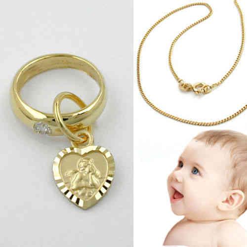 Baby Taufe Brillant 003 Ct Taufring Echt Gold 585 14kt Mit Herz Engel Und Kette Silber 925 Vergold