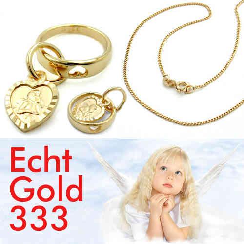 Kinder Schutz Engel Strahlen Herz Anhänger mit Rundanker Kette 38 cm Silber 925