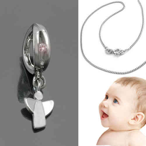 14 KT mit Kette Silber 925 VG Baby Kinder Zirkonia Schutzengel Echt Gold 585