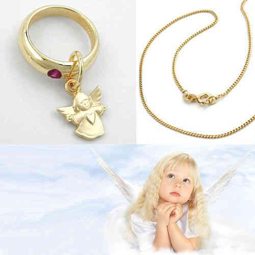 Kinder Baby Taufe Zirkonia Schutz Engel mit Herz Kette Echt Silber 925 vergoldet