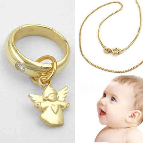 moderner Kinder Zirkonia Schutz Engel Echt Gold 333 /& Kette Silber 925 vergoldet