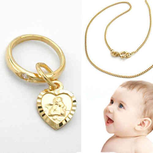 Echt Gold 333 Baby Taufe Kinder Schutz Engel mit Herz Anhänger mit Namen Gravur