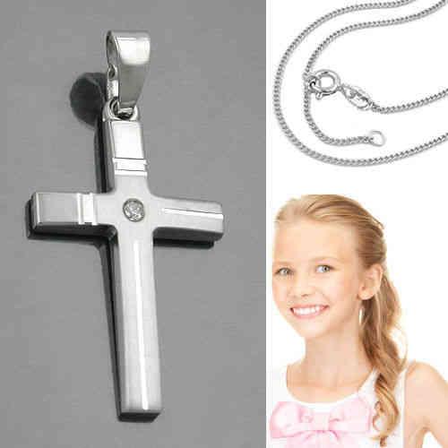 Kinder Taufe Kommunion Konfirmation Zirkonia Kreuz Anhänger mit Kette Silber 925