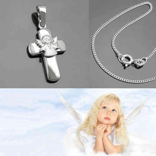 Kinder Weiß Gold 333 8 Kt Schutz Engel Anhänger mit Silber 925 Kette wählbar Neu