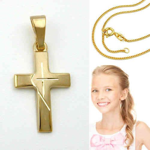 Echt Gold 333 Kinder Kommunion Taufe Kreuz Anhänger mit Kette Silber vergoldet