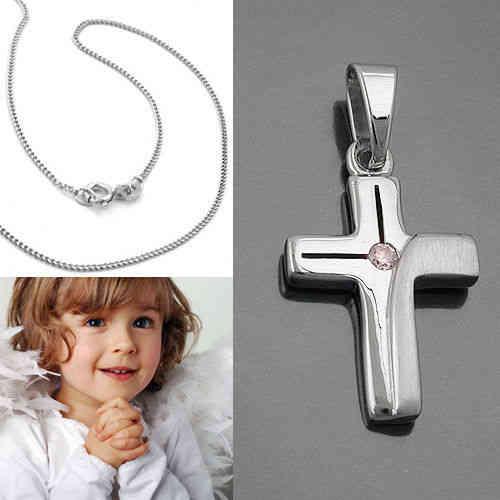 Silber Kette Weißgold 333 betender Engel Kreuz Anhänger Kinder Kommunion Taufe
