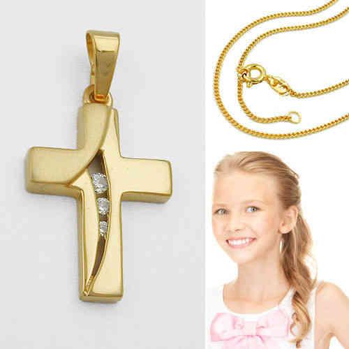 Echt Gold 333 Kinder Taufe Kommunion Kreuz Zirkonia Anhänger Mit Silber Verg Vario 42 40 Cm Kette