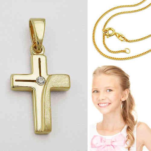Taufe Kommunion Firmung Weiß Gold 333 Schutz Engel Anhänger mit Silber 925 Kette