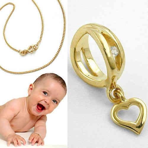 Baby Taufe Echt Gold 333 Zirkonia Taufring mit Kreuz Anhänger und Kette 925 VG