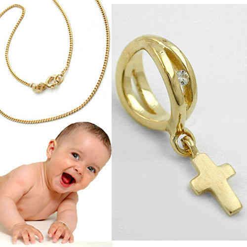 Baby Taufe Infinity Kreuz Anhänger Taufring Echt Gold 333 Mit Kette Silber 925 Vergoldet